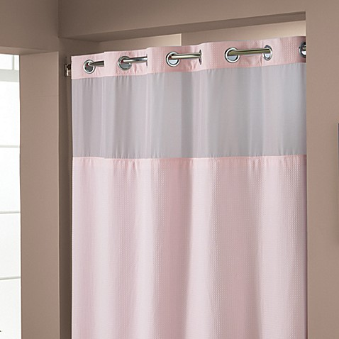 Hookless Waffle Pink 71 X 74 Fabric Shower Curtain And Liner Set Bed Bath Beyond