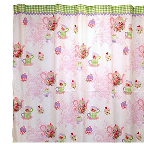 Tea Party 72-Inch x 72-Inch Fabric Shower Curtain