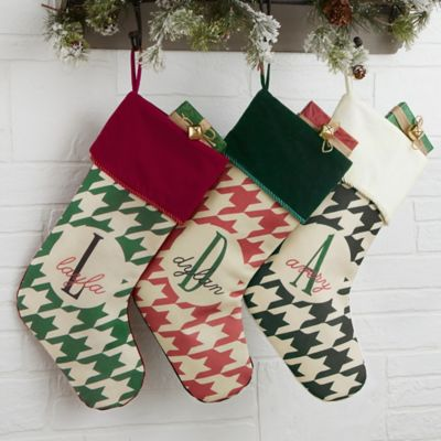 Houndstooth Monogram Christmas Stocking
