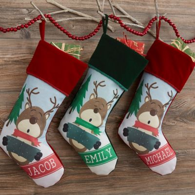 Reindeer Family Christmas Stocking