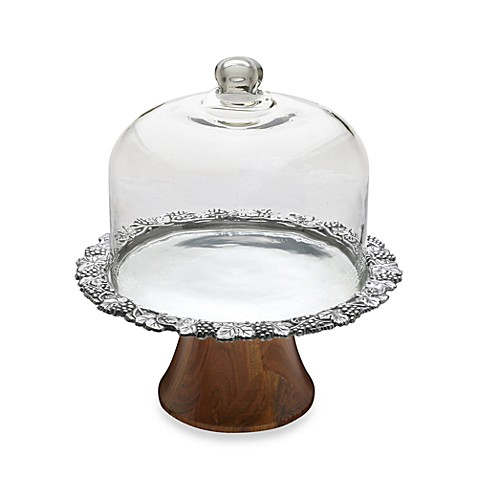 Arthur Court Designs Grape 13-Inch Footed Cake Plate with Glass Dome