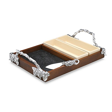 Arthur Court Designs Grape Slate/Wood 5-Piece Cheese Set