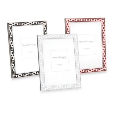 Reed and Barton® Colored Enamel & Silver Link 5-Inch x 7-Inch Picture Frame in Midnight