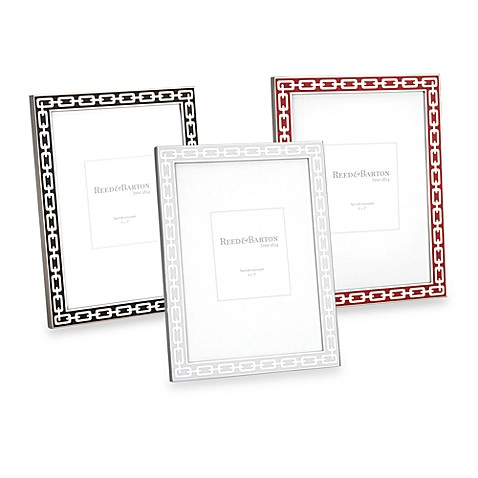 Reed and Barton®  5-Inch x 7-Inch Colored Enamel & Silver Link Picture Frame