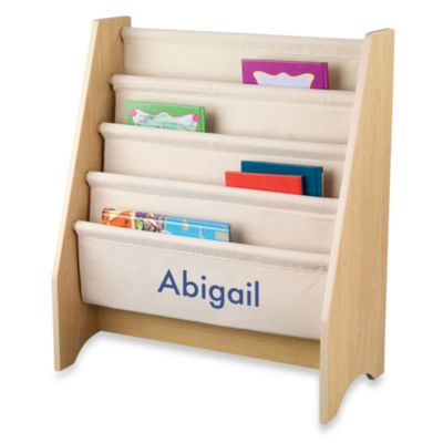 "KidKraft® ""Alyssa"" Personalized Sling Bookshelf in Natural with Blue Lettering"
