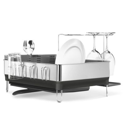simplehuman® Steel Frame Dishrack with Wine Glass Holder
