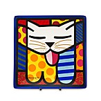Britto™ by Giftcraft Cat Design 8-Inch Square Side Plate