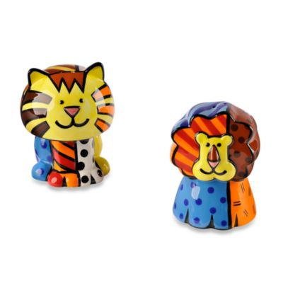 Britto™ by Giftcraft Lion & Tiger Salt & Pepper Shaker Set