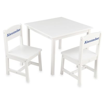 "KidKraft® Personalized ""Nicholas"" Boy's Aspen Table & Chair Set in White with Blue Lettering"