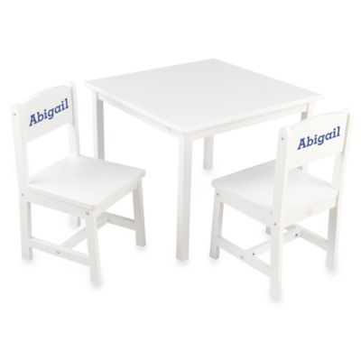 "KidKraft® Personalized ""Abigail"" Girl's Aspen Table & Chair Set in White with Blue Lettering"