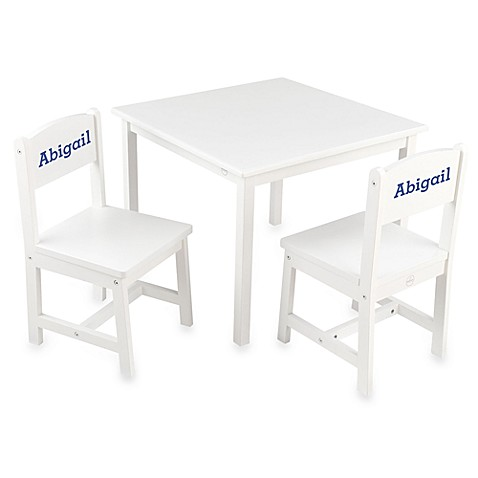 KidKraft® Personalized Girl's Aspen Table & Chair Set in White with Blue Lettering