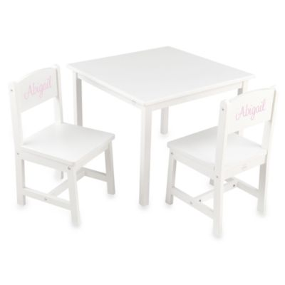 "KidKraft® Personalized ""Lauren"" Girl's Aspen Table & Chair Set in White/Pink Lettering"