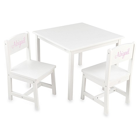 KidKraft® Personalized Girl's Aspen Table & Chair Set in White with Pink Lettering