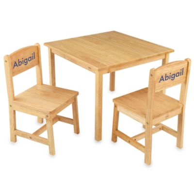 "KidKraft® Personalized ""Grace"" Girl's Aspen Table & Chair Set in Natural with Blue Lettering"