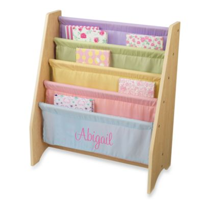 "KidKraft® Personalized ""Lauren"" Girl's Sling Bookshelf with Pastel/Pink Lettering"