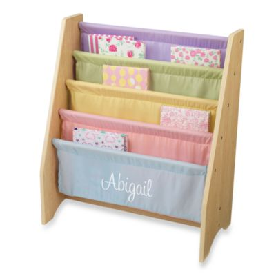 "KidKraft® Personalized ""Sarah"" Girl's Sling Bookshelf with Pastel/White Lettering"