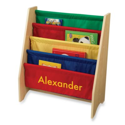 "KidKraft® Personalized ""Logan"" Boy's Sling Bookshelf Primary/Yellow Lettering"