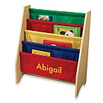 KidKraft® Personalized Girl's Sling Bookshelf in Primary with Yellow Lettering
