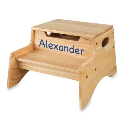"KidKraft® Personalized ""Christian"" Boy's Step 'N Store in Natural/Blue Lettering"