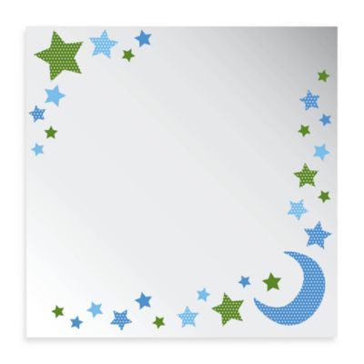 Studio Arts Night Sky Collection 12-Inch x 12-Inch Moon & Star Printed Mirror
