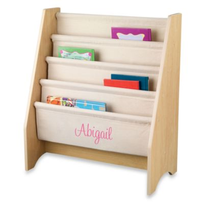 "KidKraft® ""Alyssa"" Personalized Sling Bookshelf in Natural with Pink Lettering"