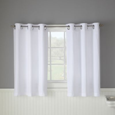 Hookless® Waffle White Bathroom Window Curtain Pair