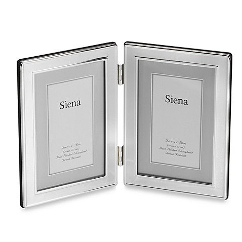 Siena Plain Border 4-Inch x 6-Inch Silver Double Opening Picture Frame
