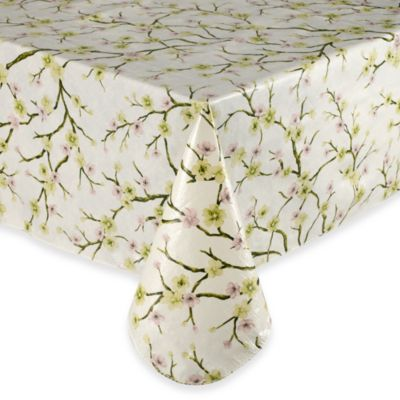 Cherry Blossom 60-Inch Round Vinyl Tablecloth