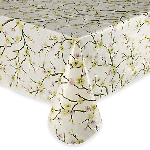 Cherry Blossom 60-Inch x 84-Inch Oblong Vinyl Tablecloth