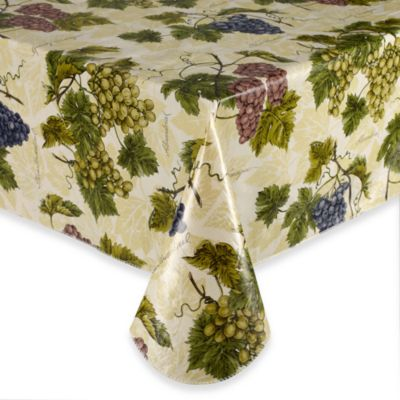 Grape Vine 70-Inch Round Elastic Vinyl Tablecloth