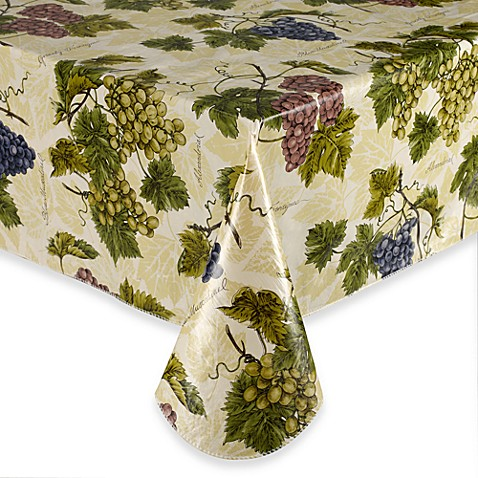 Grape Vine 60-Inch x 84-Inch Oblong Vinyl Tablecloth