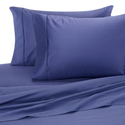 Wrinkle-Free Cotton Queen Sheet Set in Dark Blue