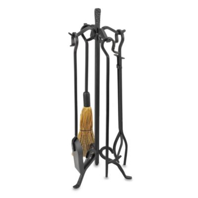 UniFlame® F-1267 5-Piece Heavyweight Black Wrought Iron Fire Set