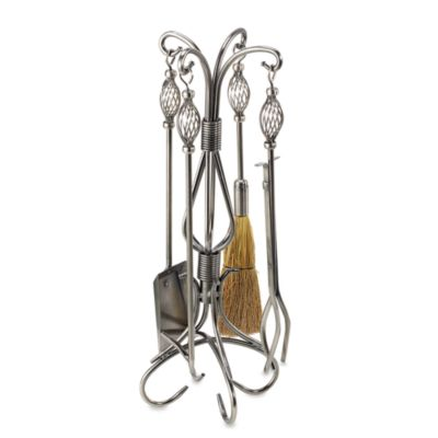 UniFlame® F-1606 5-Piece Pewter Wrought Iron Fire Set with Birdcage Handles