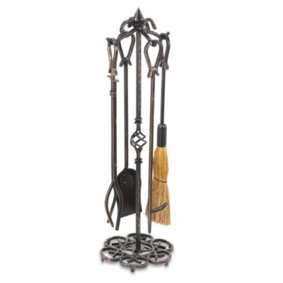 UniFlame® F-1686 Antique Rust Fireset with Horseshoe Handles