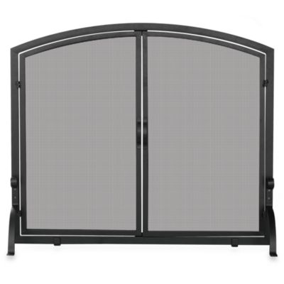UniFlame® S-1062 Single Panel Black Wrought Iron Screen with Doors in Medium
