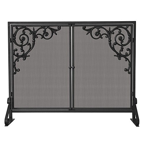 UniFlame® S-1471 Single Panel Olde World Iron Screen with Doors & Cast Scrolls