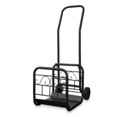 UniFlame® W-1059 Black Wrought Iron Log Rack with Wheels