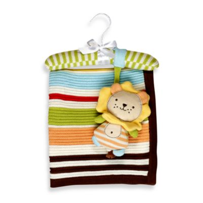 Living Textiles Baby Ziggy Lion Regular Cotton Knitted Blanket & Rattle Toy