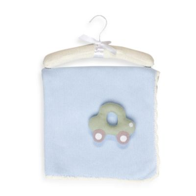 Living Textiles Baby Beep-Beep Extra Large Cotton Knitted Blanket & Rattle Toy