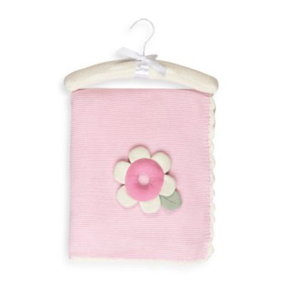 Living Textiles Baby Blossom Extra Large Cotton Knitted Blanket & Rattle Toy