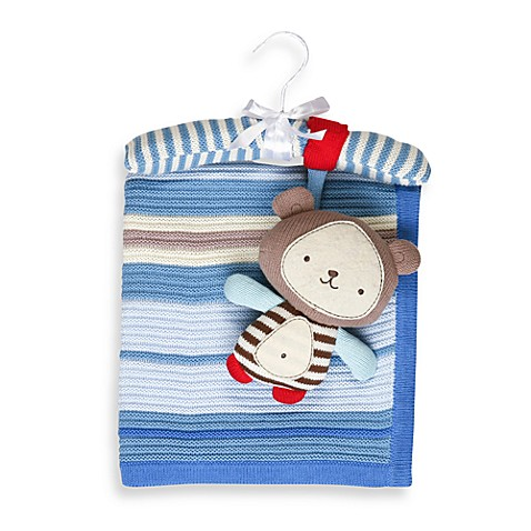 Living Textiles Baby Ollie Bear Regular Cotton Knitted Blanket & Rattle Toy