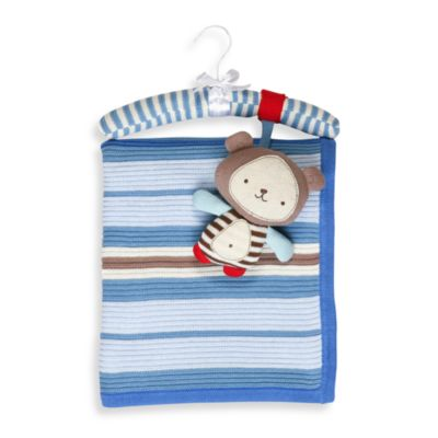 Living Textiles Baby Ollie Bear Extra Large Cotton Knitted Blanket & Rattle Toy