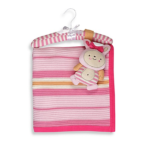 Living Textiles Baby Lulu Bunny Cotton Extra Large Knitted Blanket & Rattle Toy