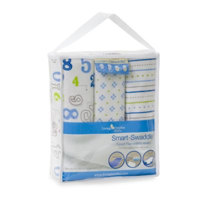 Living Textiles Baby Smart-Swaddle™ 3-Pack Flannelette '3-2-1 Fun' Foot Baby Wraps