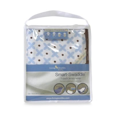 Living Textiles Baby Smart-Swaddle™ Jersey Wrap in Blue Geometric
