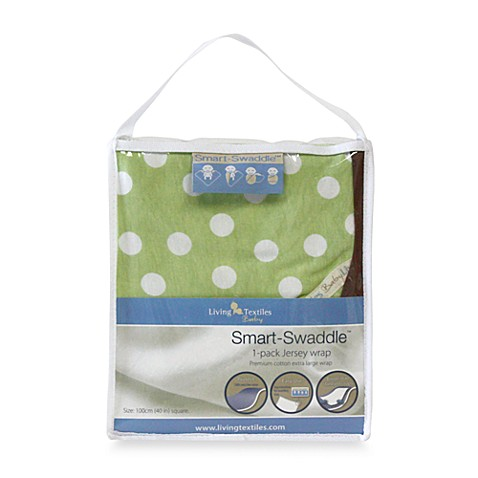 Living Textiles Baby Smart-Swaddle™ Jersey Wrap in Green Polka Dot