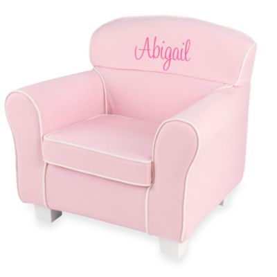 "KidKraft® Personalized ""Elizabeth"" Laguna Chair with Pink Slip Cover"