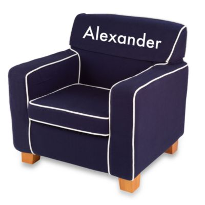 "KidKraft® Personalized ""Jonathan"" Laguna Chair with Navy Slip Cover"