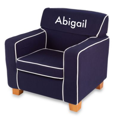 "KidKraft® Personalized ""Alexis"" Laguna Chair with Navy Slip Cover"